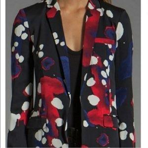 DVF silk black white red abstract blazer